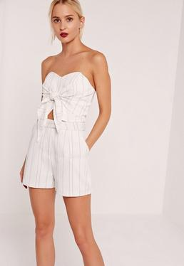 High Waisted Pin Stripe Shorts White