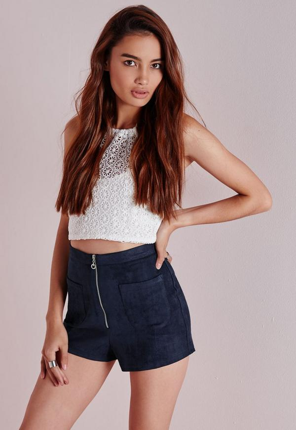 Ring Zip Faux Suede Shorts Navy