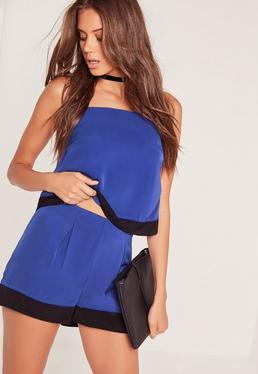 Colour Block Hem Shorts Cobalt Blue