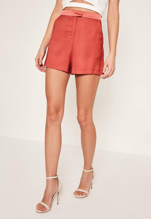 Satin High Waisted Shorts Pink | Missguided