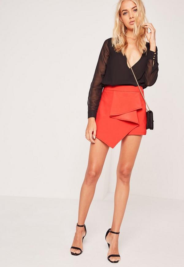 Origami Front Skort Shorts Red