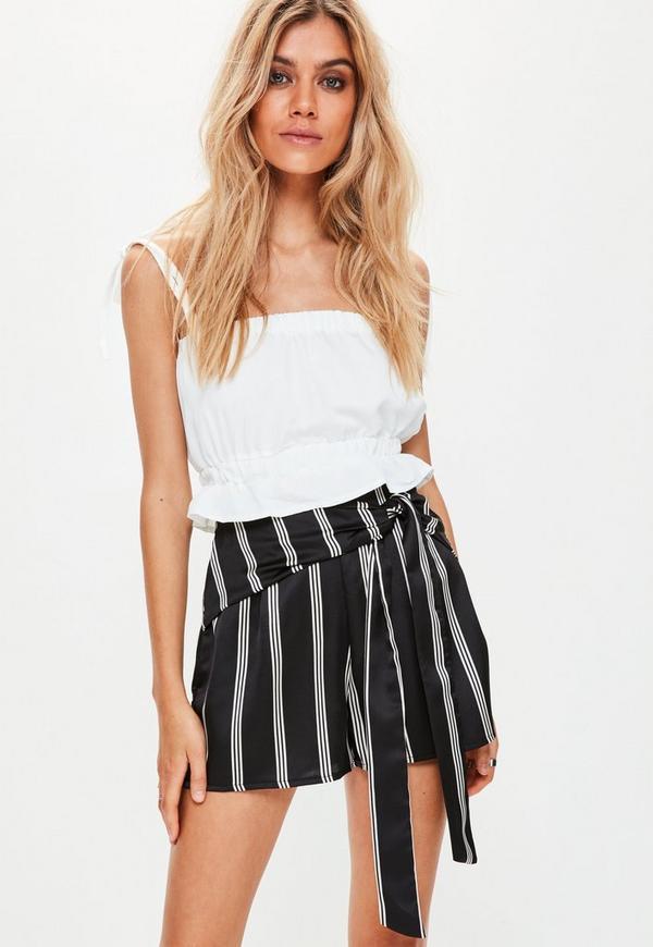 Black Wrap Waist Striped Satin Shorts