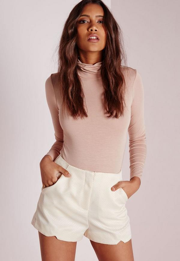 Textured Tailored Shorts Nude