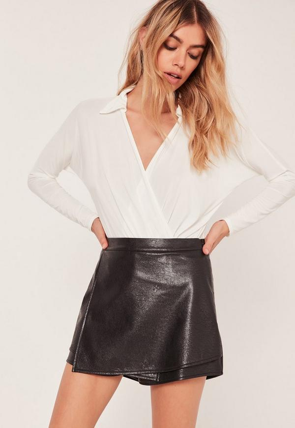 Black High Waisted Faux Leather Skort