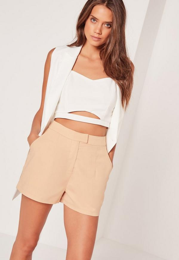 High Waisted Pin Stripe Shorts Nude