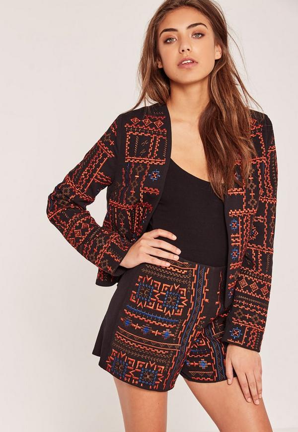 Embroidered Aztec Shorts Black