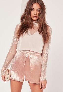 Hammered Satin Overlay Shorts Pink
