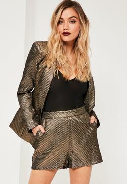Metallic Textured Suit Short Gold