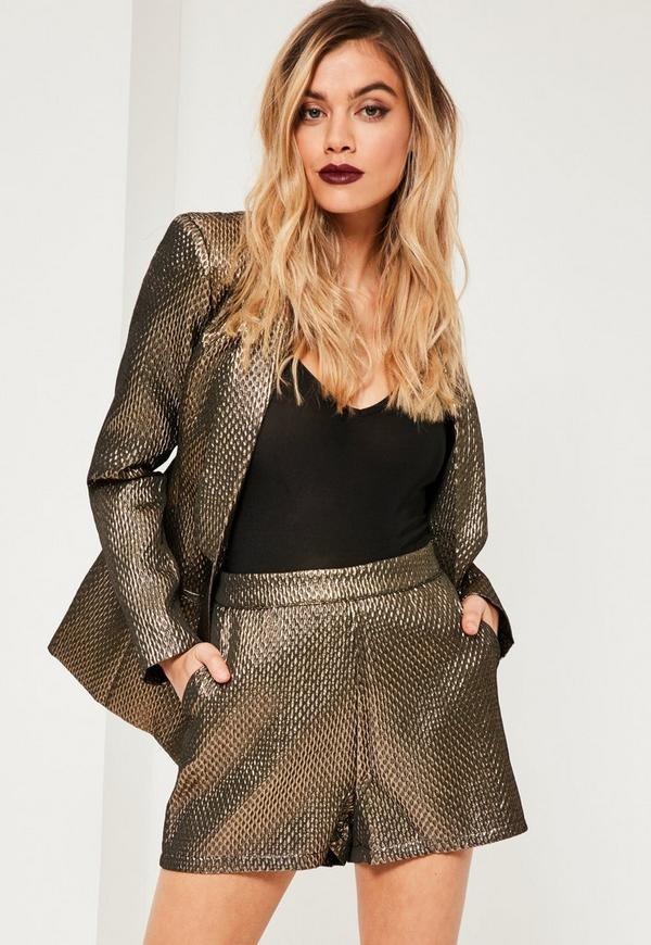 Metallic Textured Suit Short Gold