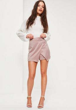 Różowe kopertowe satynowe spódnico-spodnie