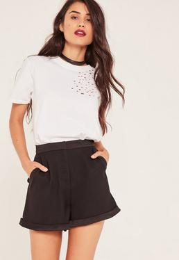 Black Satin Detail Tailored Shorts