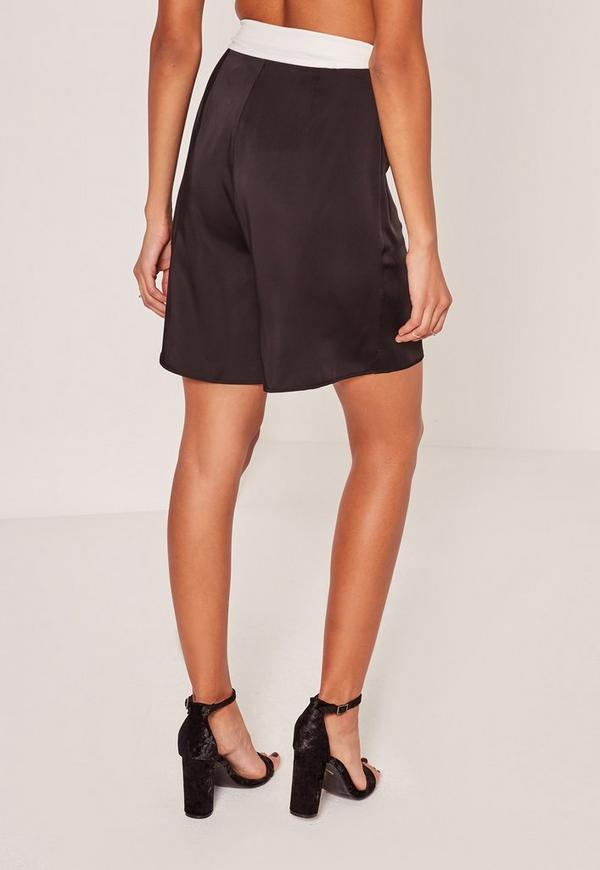 Black Super High Waisted Satin Tie Belt Shorts | Missguided