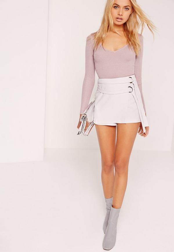 Double Tie Skort Shorts Grey