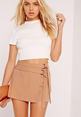 Double Tie Skort Shorts Camel