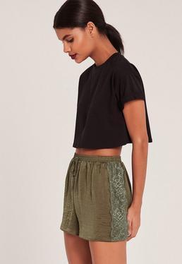 Khaki Lace Hem Hammered Satin Shorts