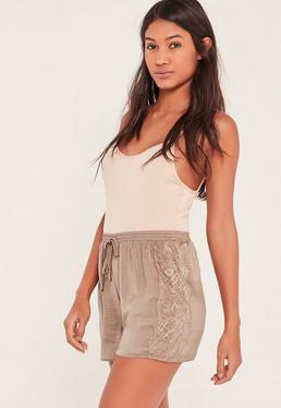 Nude Lace Hem Hammered Satin Shorts
