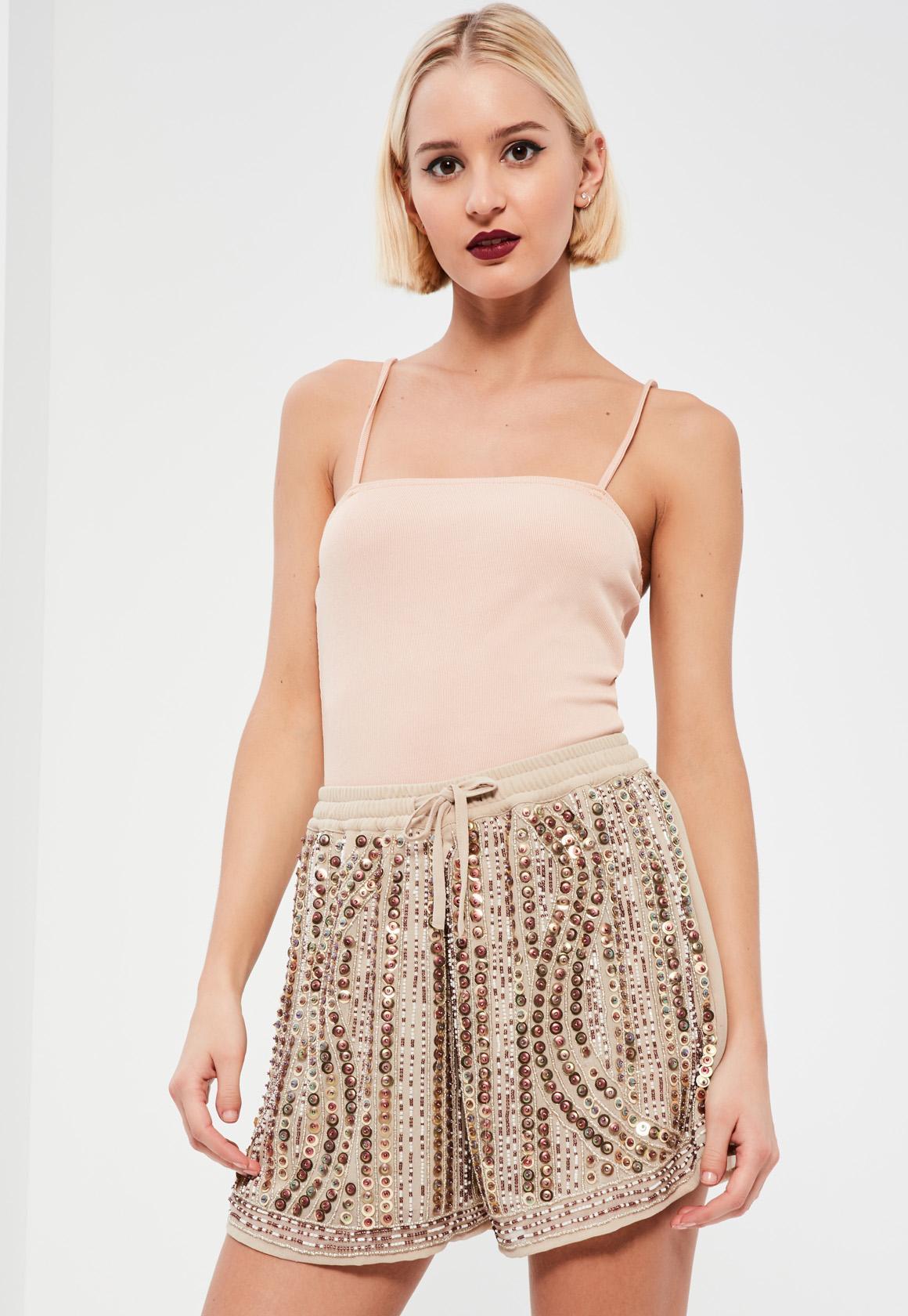 Nude Premium Sequin Shorts