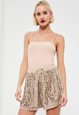 Nude Premium Sequin Shorts