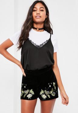 Black Velvet Floral Embroidered Shorts