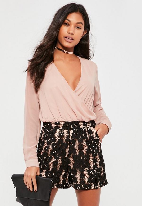 Black High Waisted Lace Shorts