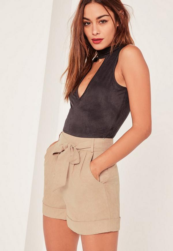 Tan Faux Suede Tie Belt High Waisted Shorts | Missguided