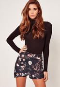 Floral Print Scuba Skort Shorts Black