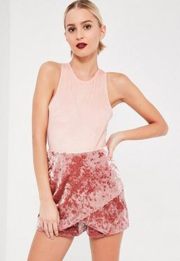 Jupe-short rose en velours froissé