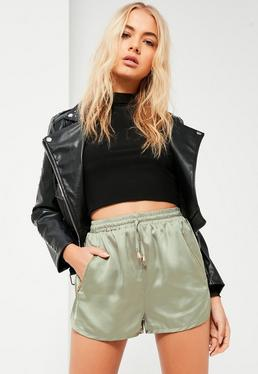 Green Silky Zip Detail Runner Shorts