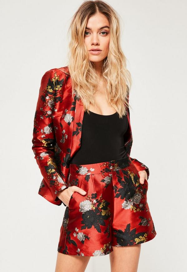 Red Floral Jacquard Highwaisted Shorts