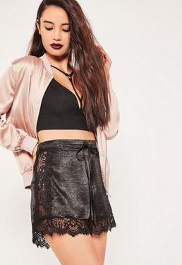 Black Lace Detail Silky Shorts