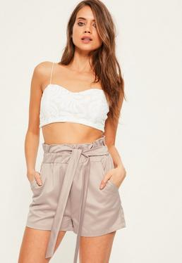 Grey Elasticated Tie Waist Satin Shorts