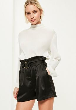 Black Super High Waisted Belt Detail Shorts