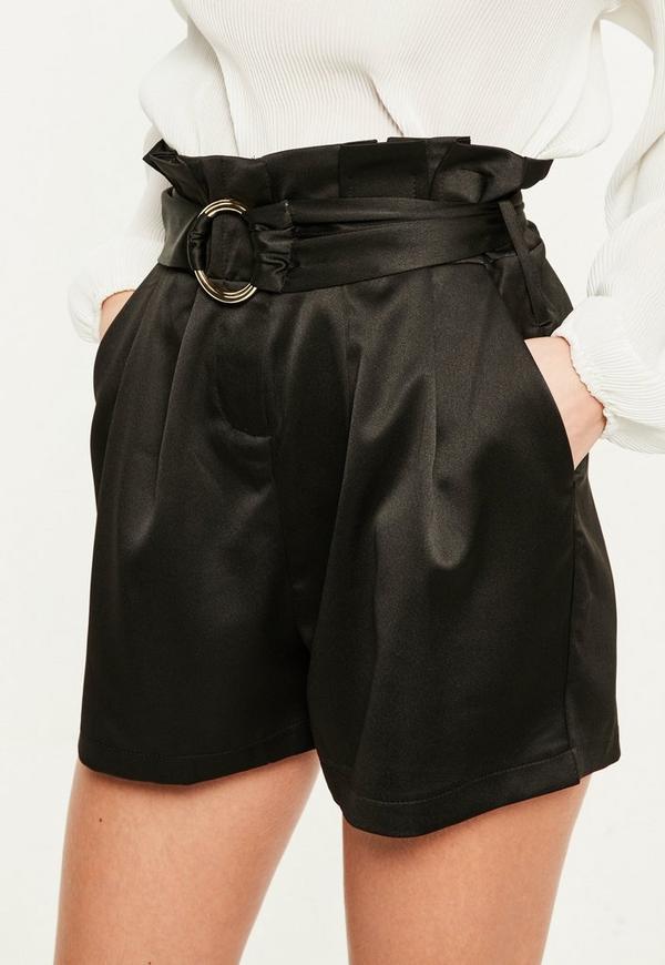 Black Super High Waisted Belt Detail Shorts | Missguided