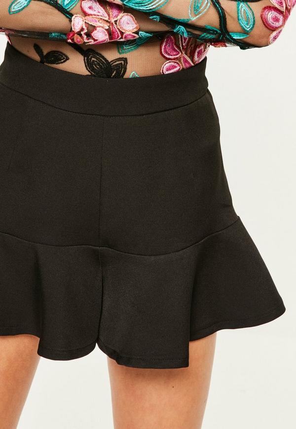Black Ruffle Hem High Waisted Shorts   Missguided