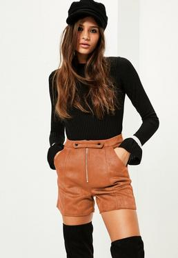 Tan Double Button Front Bonded Faux Suede Shorts