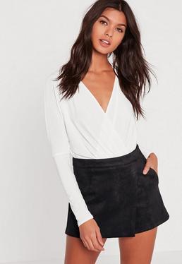 Czarne zamszowe krótkie spódnico-spodnie