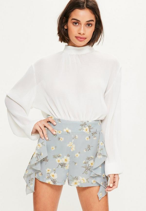Blue Ruffle Side High Waisted Shorts