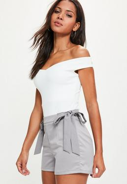 Grey Tie Side Detail Tailored Shorts