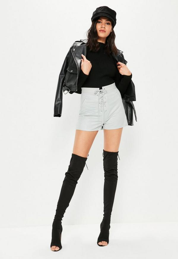 Grey Faux Suede Lace Up High Waisted Shorts   Missguided