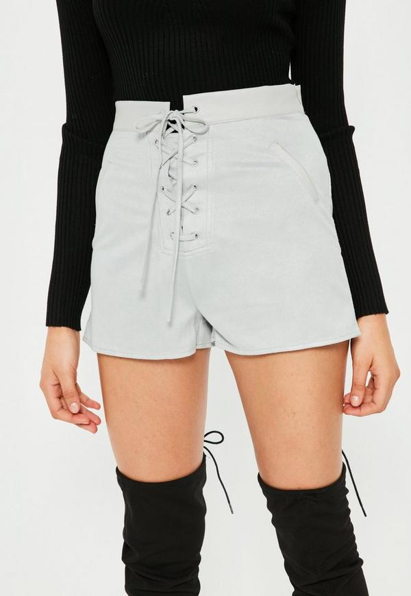 Grey Faux Suede Lace Up High Waisted Shorts | Missguided Australia