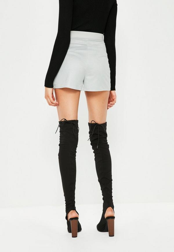 Grey Faux Suede Lace Up High Waisted Shorts | Missguided
