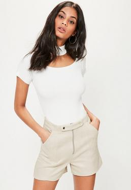 White Double Button Front Bonded Faux Suede Shorts