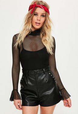 Black Faux Leather Stud Pocket Detail Tailored Shorts