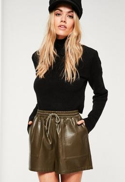 Khaki Faux Leather Utility Shorts
