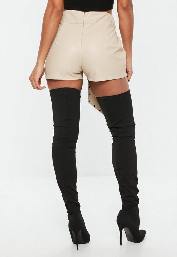 Beige Studded Belt High Waisted Faux Leather Shorts | Missguided