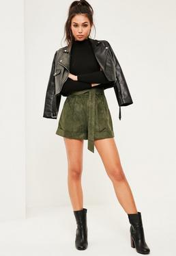 Khaki Faux Suede Tie Belt Highwaisted Shorts