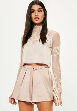 Rose Gold Buckle Pleated Satin Shorts