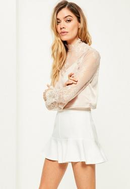 White Ruffle Hem High Waisted Shorts