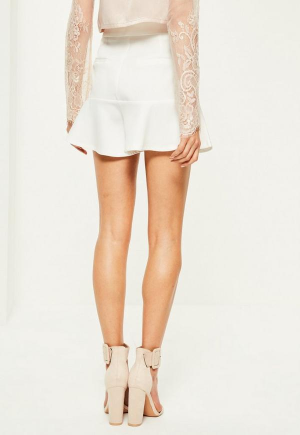 White Ruffle Hem High Waisted Shorts | Missguided