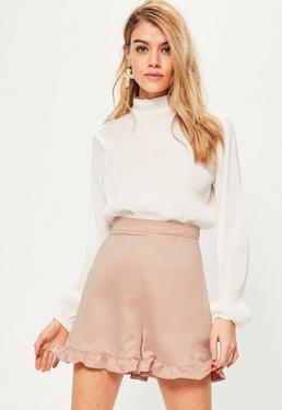 Pink Satin Back Crepe Frill Hem Shorts